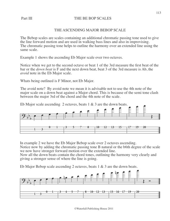 bebop major scale  constructing walking jazz bass lines book III bas tab edition (dragged)